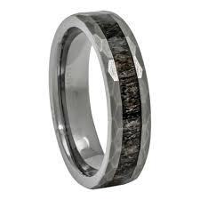 Tungsten Comfort Fit Wedding Bands Deer Antler Ring In Tungsten Hammered Finish 6mm Comfort Fit