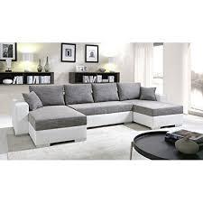 canapé angle gris blanc canapé d angle convertible panoramique 5 à 6 places enno gris et
