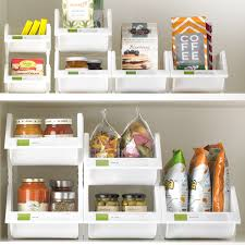 white stackable bins with label holder container store