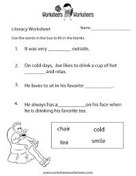 reading comprehension worksheet for kindergarten koogra