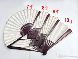 cheap paper fans diy blank white colour rice paper fans 7 8 9 10