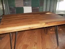 butcher block table top with metal hairpin legs of 15 designs of butcher block table top with metal hairpin legs