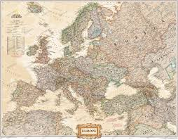European Continent Map by Europe Map Large Size Executive Antique Tones National Geographic
