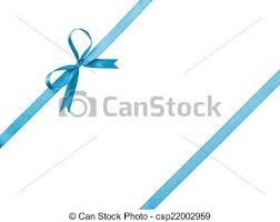 thin ribbon blue thin ribbon with bow composition isolated on white stock