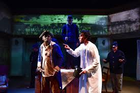 Seeking Stain Cast Theater Review The Heavens Are Hung In Black Shattered Globe In