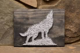 Outdoorsman Home Decor Wolf String Art Wildlife Art Wildlife Decor Rustic Wood