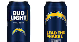 bud light aluminum bottles nfl bud light unveils chargers branded cans los angeles chargers