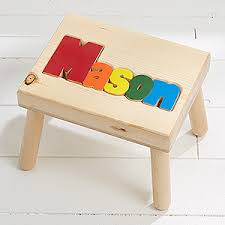 boys personalized name puzzle stool small kids gifts