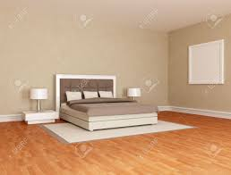 minimalist bedroom with stylish double bed stock photo picture