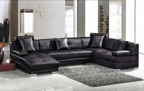 Large Black Leather Sofa Large Black Leather Sectional With Curved Chaise Lounge And