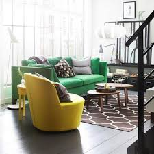 Round Living Room Chairs - vintage living room decoration ideas with green sofa and yellow