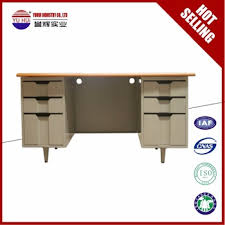 Plastic Office Desk Iron White Office Desk With 6 Drawers Plastic Handles Metal