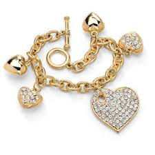 multi tone gold bracelet images Palmbeach jewelry crystal multi heart charm bracelet in yellow