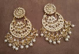 chandbali earrings buy white kundan chandbali earrings online