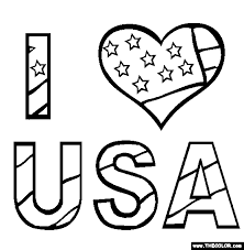 I Love Usa Coloring Page Free I Love Usa Online Coloring Color Page