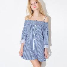 blue and white striped off the shoulder long sleeved button down