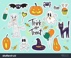 halloween fashion cute cartoon doodle patch stock vector 695415802
