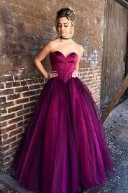 stylish magenta sweetheart floor length tulle prom dresses formal