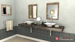 decor cozy bathroom using hidden shelf brackets plus tile wall