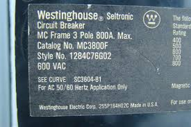 westinghouse seltronic 800 amp circuit breaker 600 vac mc3800f