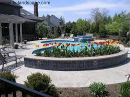 Raised Patio Planter by Swimming Pool Landscapes 02 Columbus Ohio Landscapes Pinterest