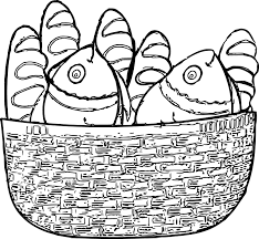 5 loaves and 2 fish basket coloring page wecoloringpage