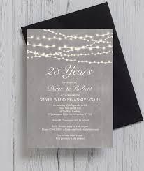 silver wedding invitations grey fairy lights 25th silver wedding anniversary invitation