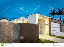 modern house entrance modern house entrance at night with lights on stock image image