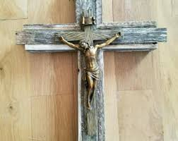 wooden wall crucifix simple wall crucifix etsy