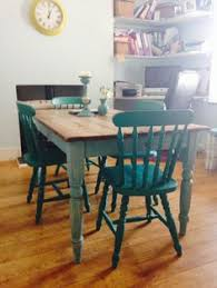 this rustic shabby chic dining table with drawer comes with four