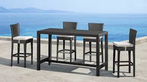 Black Wicker Patio Furniture by Outdoor Bar Height Dining Table And Chairs Zoiy Cnxconsortium