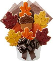 cookie bouquet fall leaf decorated cookie bouquet