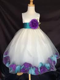 mardi grass ivory flower bridesmaids mixed petal teal purple
