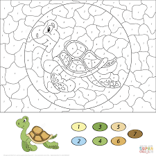 sea turtle color by number free printable coloring pages