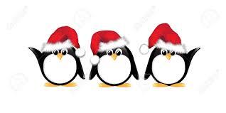 winter cartoon penguins wearing santa hats isolated on white