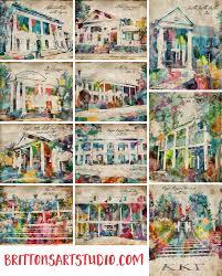 mississippi state university sorority house watercolor bid