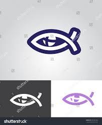 christian fish eye symbol cross eyeball stock vector 492001546