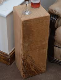Oak Side Table Lstand Side Table In Solid Oak Wood N Wax Handcrafted