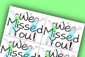 i miss you cards free printable package we miss you cards and attendance sheets