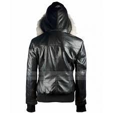 black leather jacket women fur hooded bomber jacket