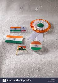 My National Flag Indian National Flag Color Badge On White Embroidery Cloth Stock
