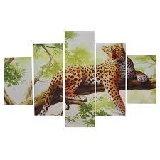 leopard home decor 5pcs combination canvas print painting leopard modern wall art