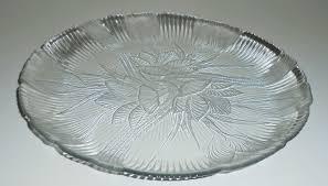 metal platters vintage platter clear glass canterbury arcoroc floral crocus