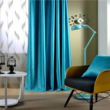 Bright Blue Curtains 2 Pieces Solid Color Luxury Window Curtains For Living Room Luxury