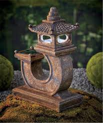 Landscaping Solar Lights by Zen Garden Solar Pagoda Light Weathered Stone Look Statue Accent