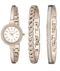 anne klein bracelet set images Anne klein women 39 s ak 2046rgst swarovski crystal accented rose png