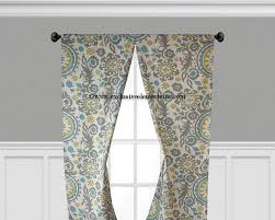 modern floral curtain panels drapes spa blue yellow grey in