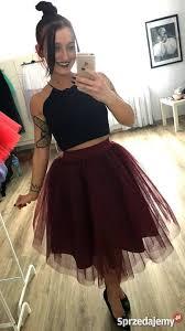 spodnica tiulowa bordowa spódnica tiulowa bordo tiul spódniczka warstwowa witkowo