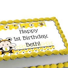 Bumble Bee 1st Birthday Edible Image Cake Decoration