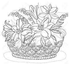 basket of flowers coloring page coloring flowers pinterest